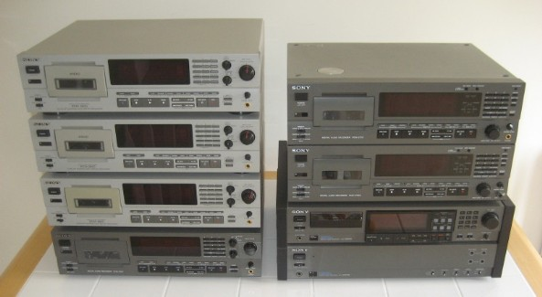 A collection of Sony professional DAT recorders.